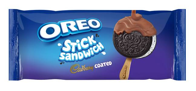 The new Oreo sandwich ice-cream comes with a stick and lashings of milk chocolate (Credit: Cadbury)