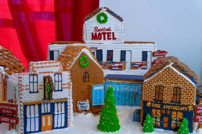 The Schitt's Creek town as depicted in gingerbread (Credit: Peddler's Village)