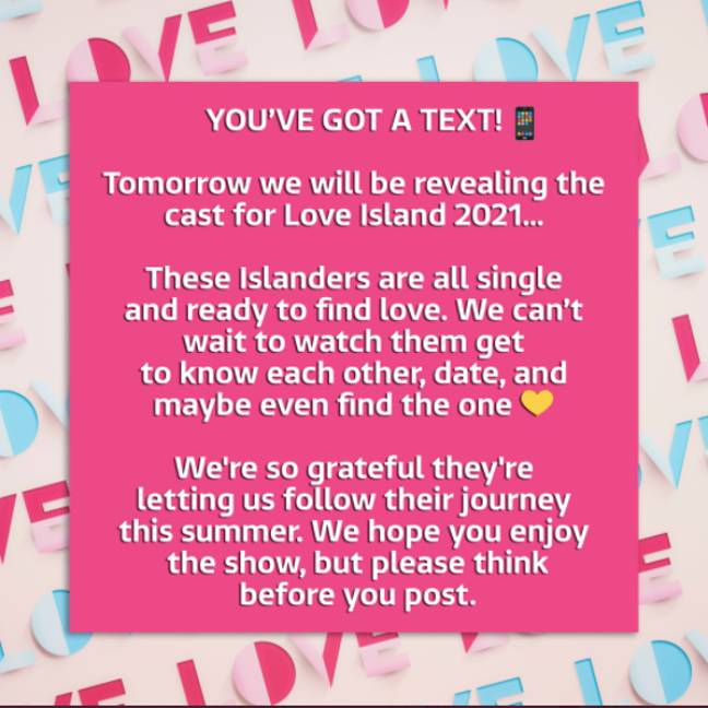 Bosses urged fans to 'be kind' this year (Credit: Twitter - Love Island)