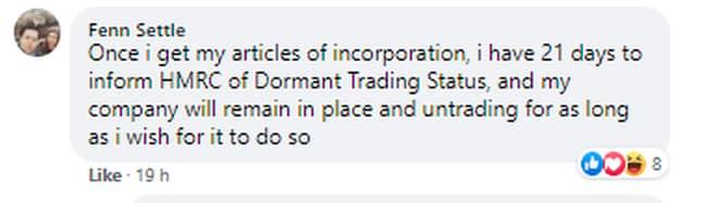 Fenn Settle's Facebook post regarding his new business (Credit: Kennedy)