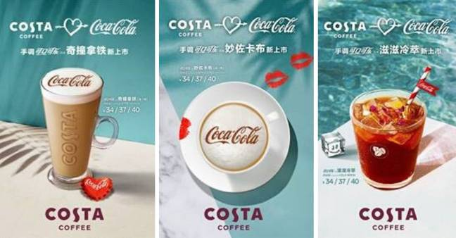 China's Coca Cola Costa Coffee range includes a cold brew, cappuccino and a latte (Credit: Costa Coffee)