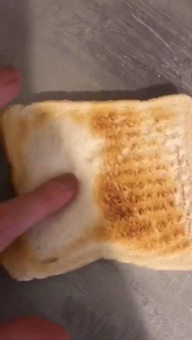 The stylist pressed the still-white side of the toast to prove it was uncooked (Credit: Kennedy News)