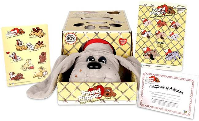 Each reproduction Pound Puppy comes with its own adoption certificate, name tag and fun fact card (Credit: Amazon)