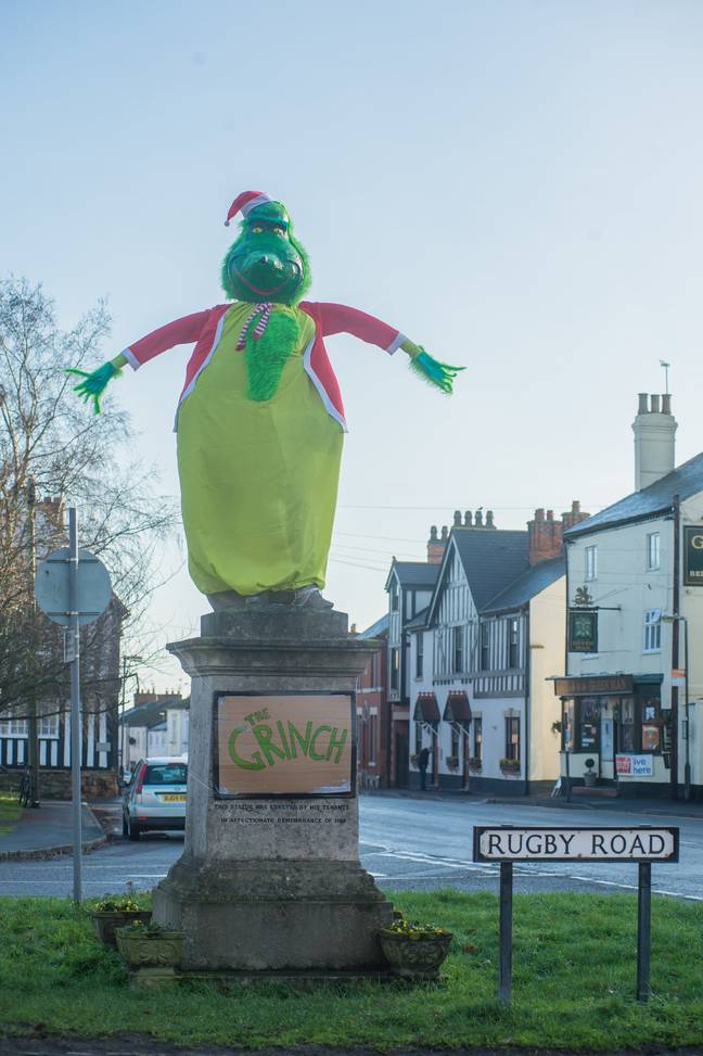 The statue was dressed up as The Grinch back in 2018 (Credit: SWNS)