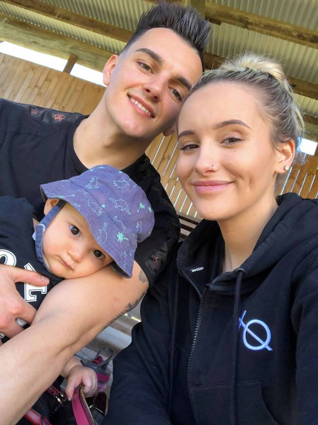 Leah-Marie and partner Jordan with baby Luca (Credit: Caters)