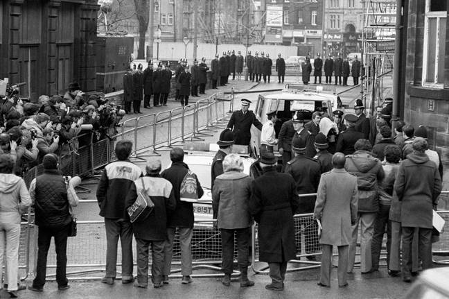 Peter Sutcliffe arriving at court in 1981. (Credit: PA)
