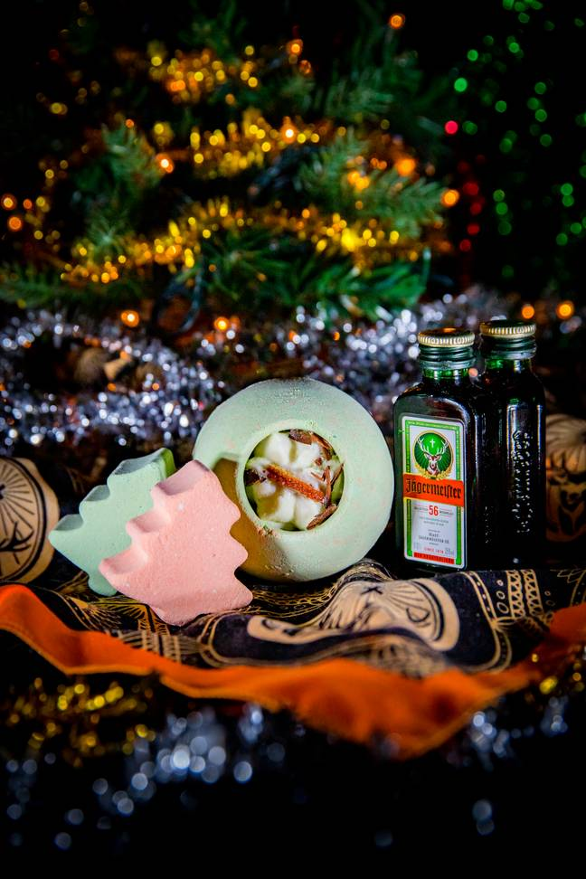 Each pack includes 3 bath bombs and a 2cl bottle of original Jägermeister, Jägermeister cold brew coffee and bandana (Credit: Jägermeister)