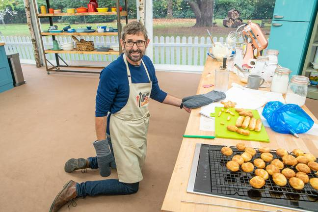 The presenter was the first star to land a treble handshake in GBBO's celebrity 'Stand Up To Cancer' special (Credit: BBC)