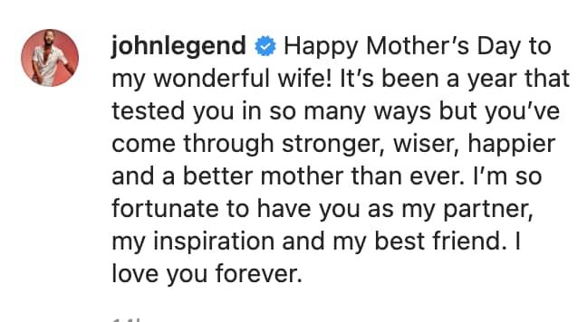 John Legend wrote a heartfelt caption in honour of Chrissy Teigen for Mother's Day (Credit: John Legend/ Instagram)