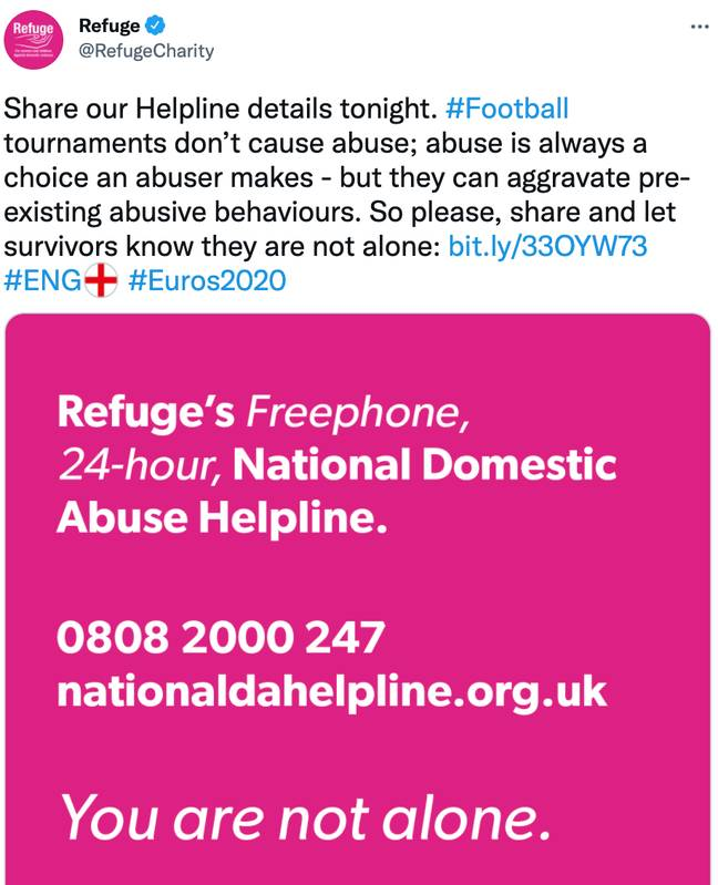 Refuge also tweeted links to support pages during Sunday's final (Credit: Twitter)