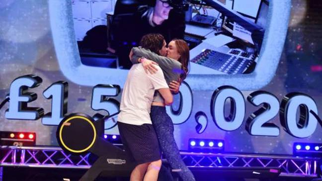 Joe Wicks was joined by his wife Rosie during the last hour of the challenge (Credit: BBC)