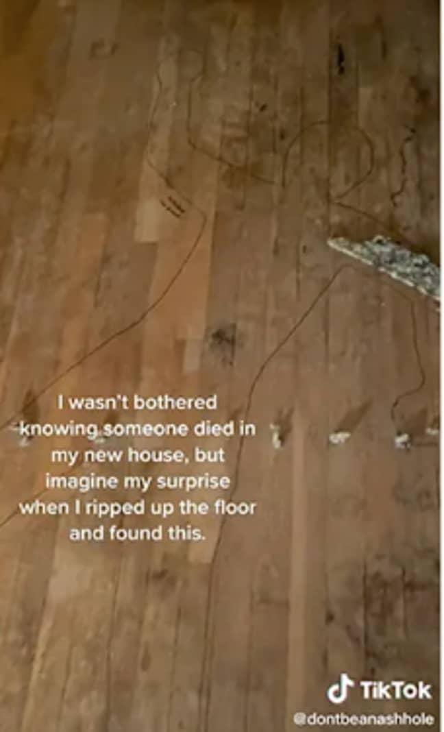 The TikTok showed a body drawn onto the floor (Credit: TikTok)