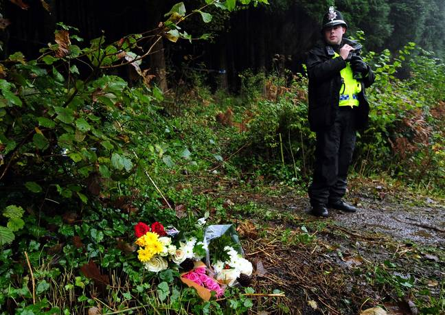 Flowers left at the scene of the crime where Becca was murdered. Credit: PA