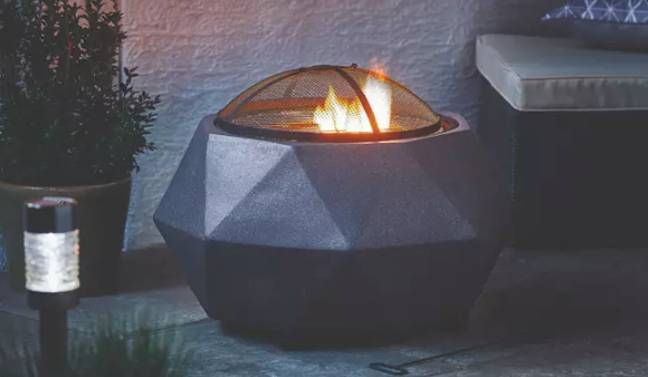 Put this fire put near your bench for ultimate warmth and atmosphere (Credit: Aldi)