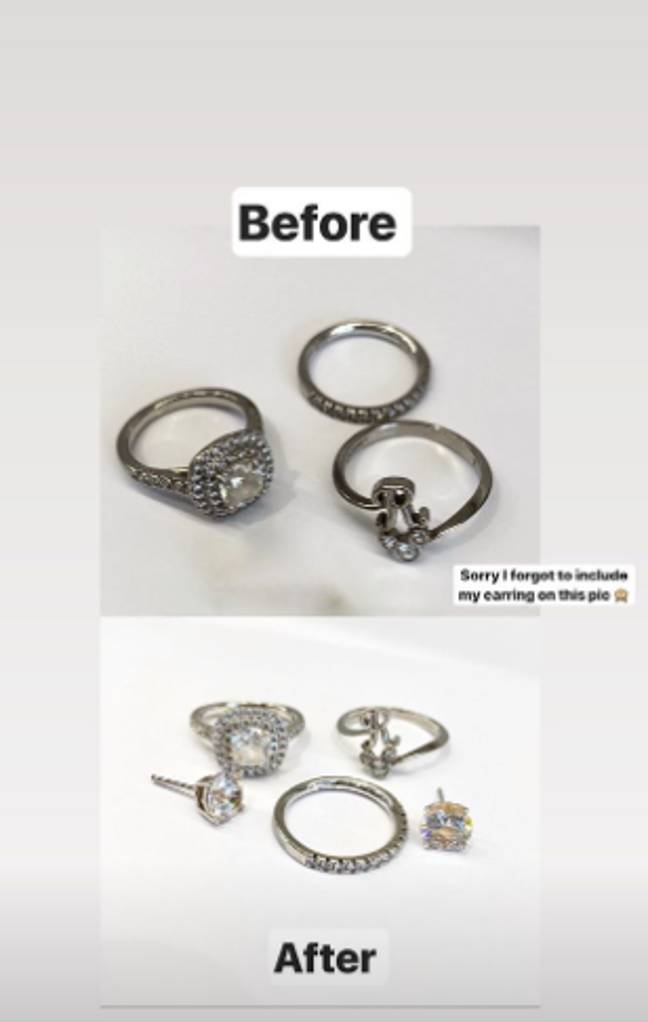 The jewellery looks sparkling clean in the before and after shots (Credit: Instagram/@mrshinchhome)