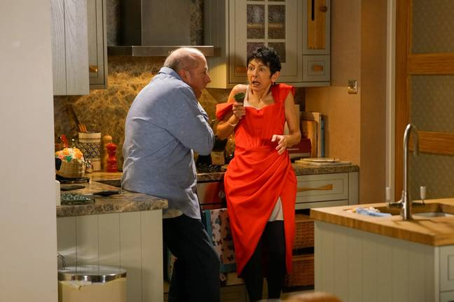 Yasmeen stabs Geoff in scenes that air this week (Credit: ITV)
