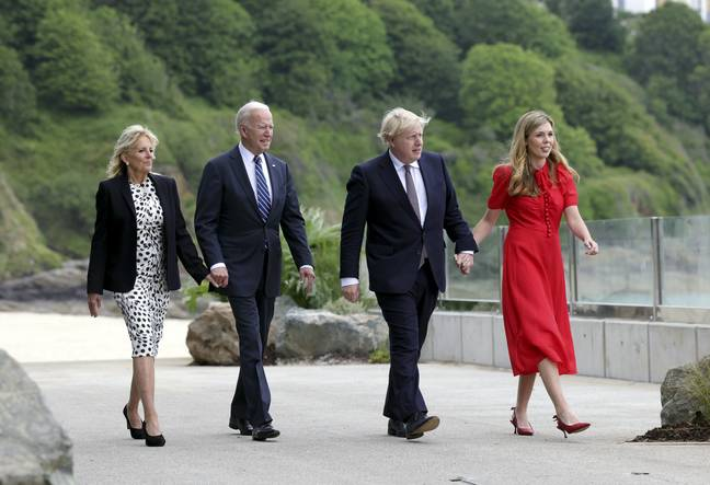 The Prime Minister and the President were both pictured with their wives (Credit: PA)