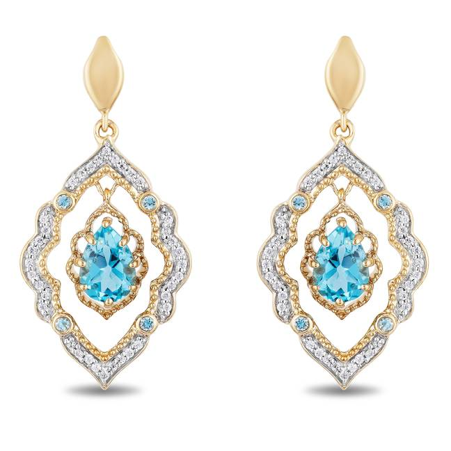Diamond 9ct yellow gold drop earrings inspired by Aladdin. Credit: H. Samuel