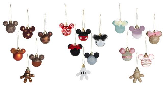 You can get your hands on the mouse head shaped baubles for £4 a pack, which all feature a bauble in the shape of Mickey's hand (Credit: Primark)