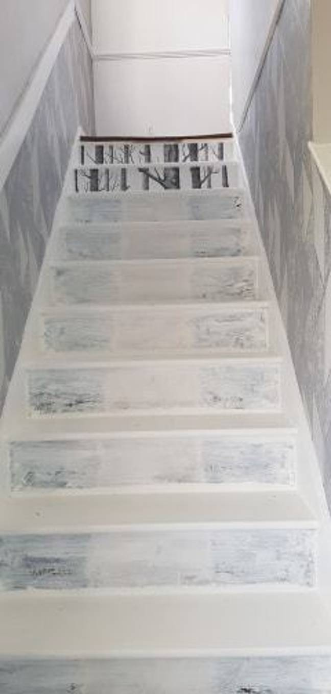 The staircase in the midst of its remodelling. Credit: Emma-Jane