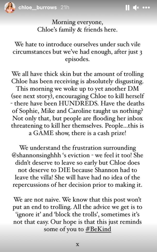 Chloe's family spoke about the death threats she received (Credit: Instagram)