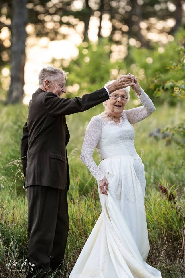 Lucille sewed her elegant lace gown by hand (Credit: Kate Autry Photography)
