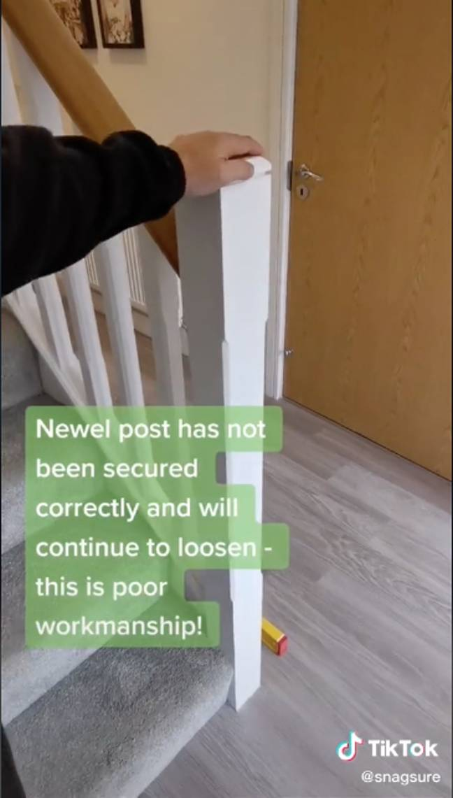 Poorly fitted bannisters were pointed out (Credit: TikTok)