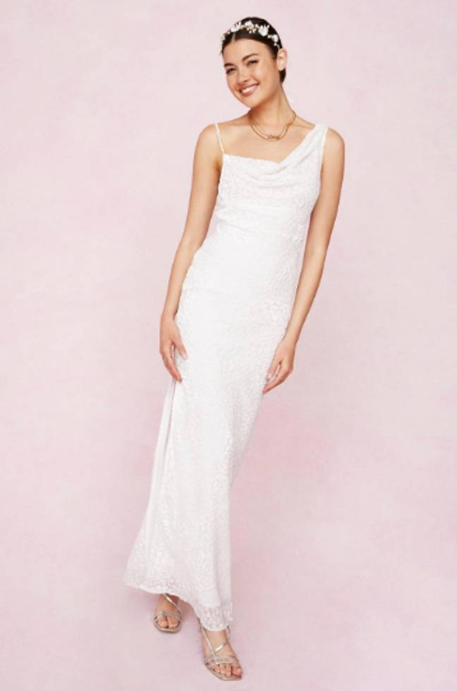this asymmetric dress is one of the more typically bridal in the range (Credit: Nasty Gal)