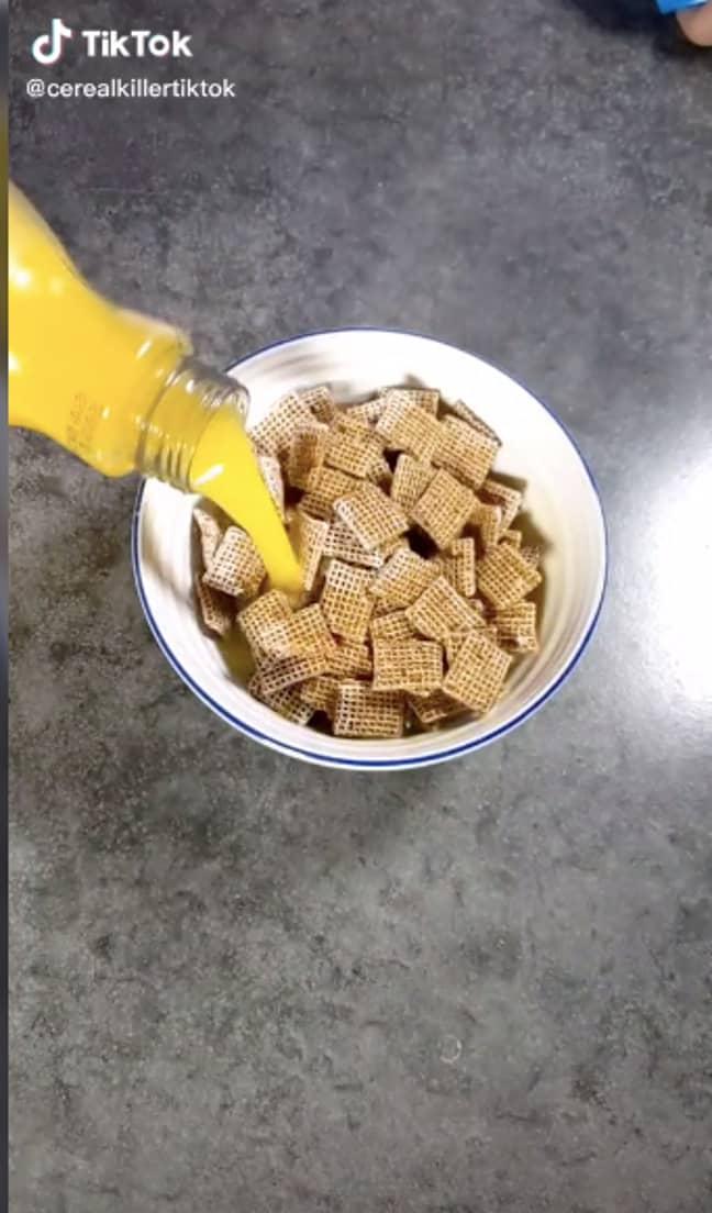 Orange juice on top of Shreddies? Really (Credit: TikTok - cerealkillertiktok)