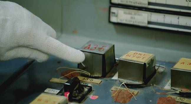 Ben touches 'the button that doomed Chernobyl' (Credit: Channel 5)