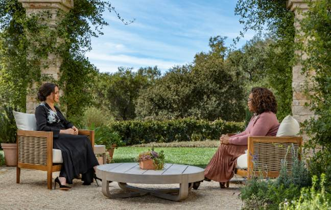 Meghan gave a candid interview with Oprah before the prince joined (Credit: CBS)