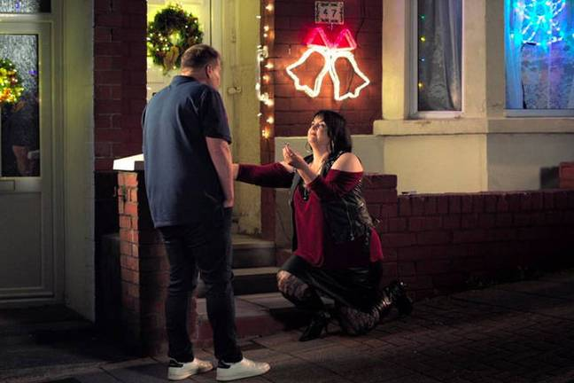 The Christmas special ended on Nessa proposing to Smithy (Credit: BBC)