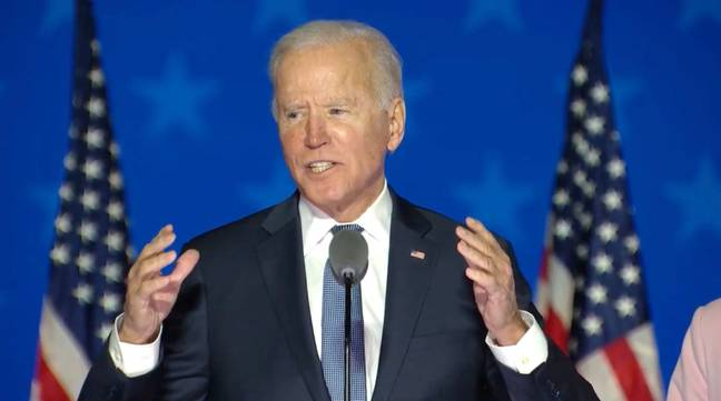 Democratic candidate Joe Biden addresses the nation on election night (Credit: PA)