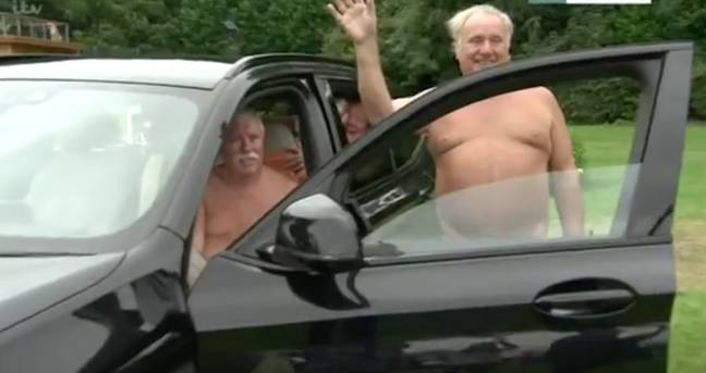 The man accidentally flashed after moving away from the car door (Credit: ITV)