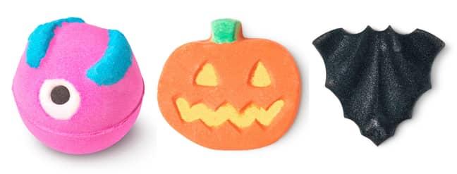 Monsters Ball Bath Bomb (£5.50) , Punkin Pumpkin Bath Bomb (£4.95), Bat Art Bath Bomb (£4.95) (Credit: Lush)