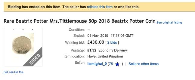 This Mrs Tittlemouse coin sold for £430 on eBay. (Credit: eBay)