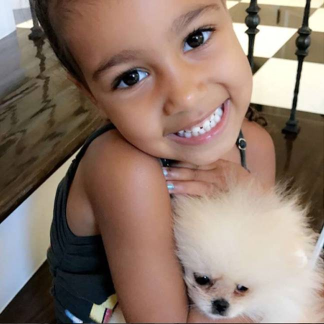 North West is clearly a dog lover (Credit: Instagram/Kim Kardashian)