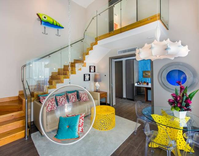 The luxe holiday villa features a huge living room with loft space above (Credit: Nickelodeon Hotels and Resorts Punta Cana)