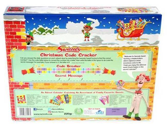 There's an interactive puzzle on the back of the box linking to questions behind each door (Credit: Swizzels)