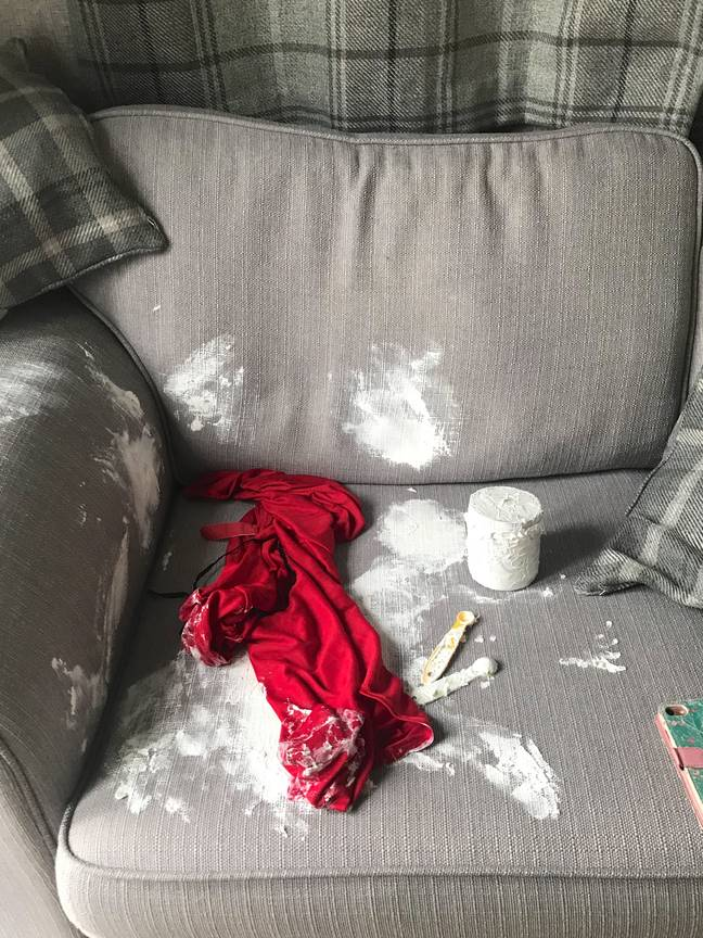 The sofa was left in a state (Credit: Caters)