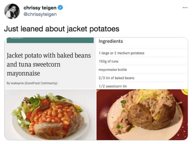Chrissy Teigen shared jacket potatoes on her Twitter and a fierce debate begun (Credit: Twitter/ Chrissy Teigen)