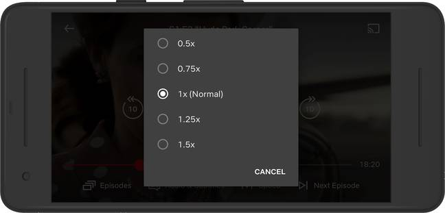 You can now increase or decrease the speed of your viewing if using Android (Credit: Netflix)