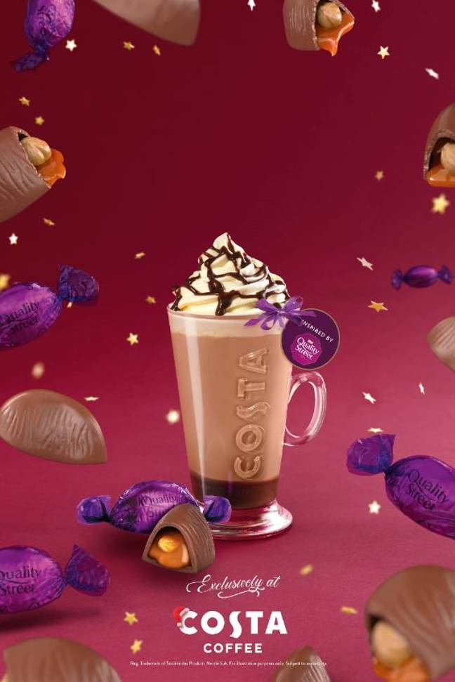 The menu includes a Quality Street latte option (Credit: Costa)