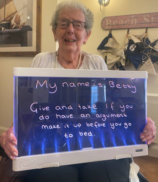 Betty says never let an argument brew (Credit: Colne View care home)