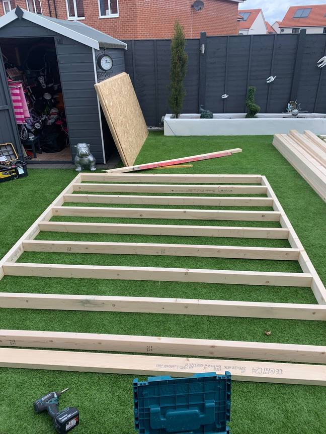 The couple began by measuring out a space that would fit their garden (Latestdeals.co.uk)
