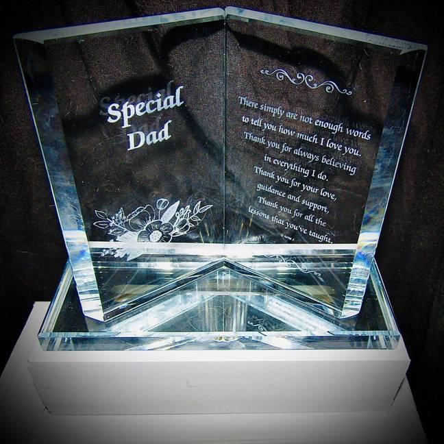 At 2am, Amber spotted a 'cute' £10.95 light-up plaque dedicated to a special dad, ordered it and even paid an extra £4 for speedy delivery (Credit: Kennedy)