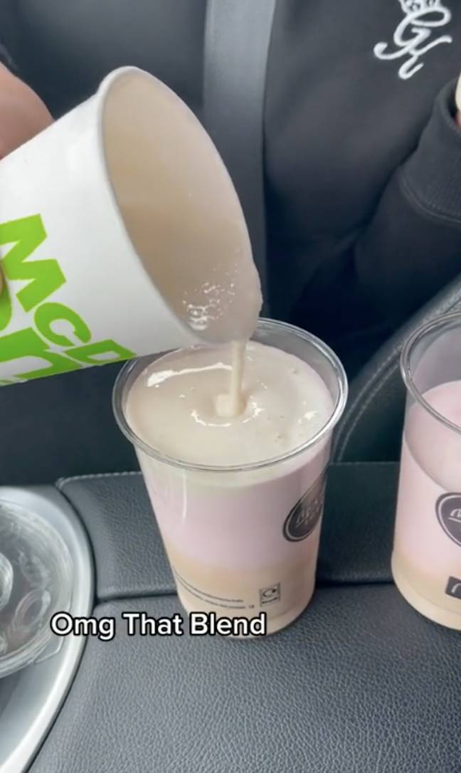 She added all three flavours into one cup (Credit: TikTok/@melika_zaidi)
