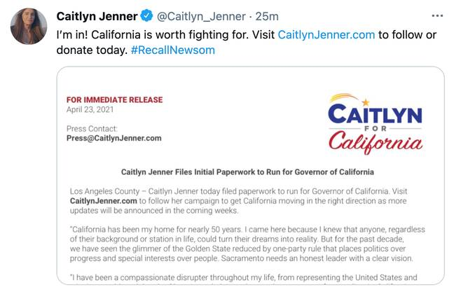 Caitlyn announced her campaign on Friday (Credit: Caitlyn Jenner/ Twitter)