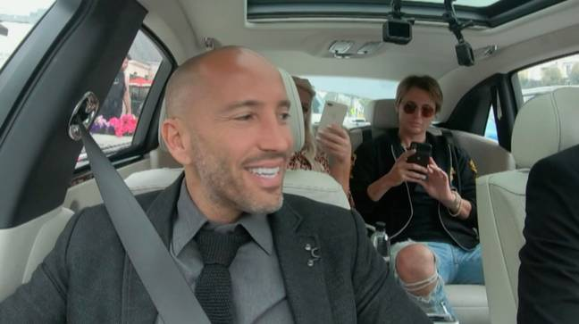 Gemma and Jonathan drive to the properties in Jason's chauffered Rolls Royce (Credit: ITV)