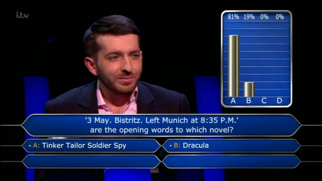 After using the 50/50 lifeline 81 per cent of the audience chose the wrong answer. (Credit: ITV)
